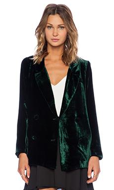 Line & Dot Liv Velvet Blazer in Dark Green