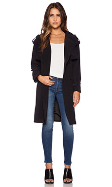 Line & Dot Trench Coat in Black