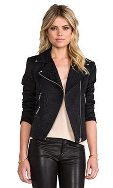 Line & Dot Jacquard Moto Jacket in Black