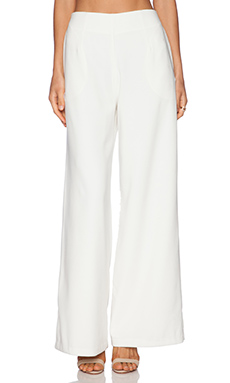 Line & Dot Luxe Wide Leg Trouser in White