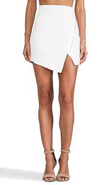 Line & Dot Lace Pieced Skirt in White