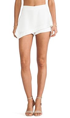 Line & Dot Asymmetry Flare Skirt in White