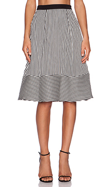 Line & Dot Pleat Full Skirt in Tiny Stripe