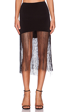 Line & Dot Gloss Fringe Skirt in Black