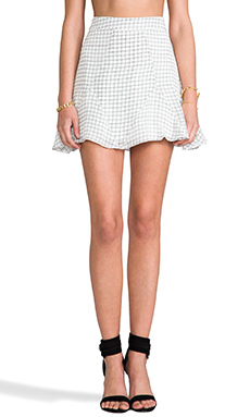 Line & Dot Structured Printed Mini Skirt in Paper Grid