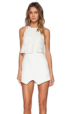 Line & Dot Infinite Romper in White