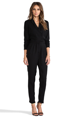 Line & Dot Double Breasted Jumpsuit in Black