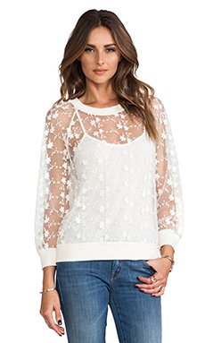 Line & Dot Embroidery Lace Top in Ivory