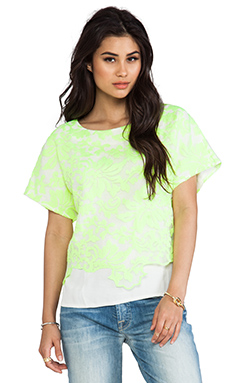 Line & Dot Embroidery Layer Top in Citrus Lime