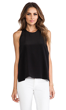 Line & Dot Two Toned Halter Top in Black