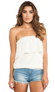 Line & Dot Lace Tube Top in Ivory