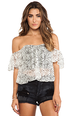 Line & Dot Flare Corset Top in Coconut Scent