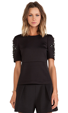 Line & Dot Perry Embellished Top in Black