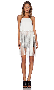 Line & Dot Motion Fringe Top in White