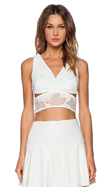 Line & Dot Silence Divide Top in White