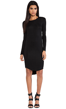L'AMERICA The Classic Long Sleeve Jersey Dress in Black
