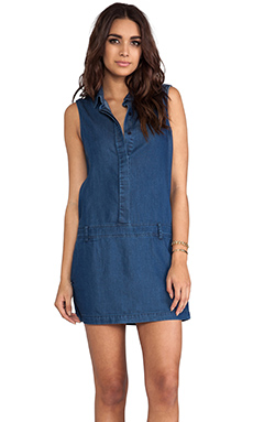 L'AMERICA Lone Show Boxy Panel Dress in Chambray Navy