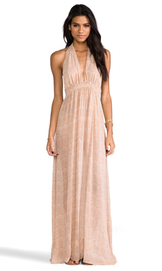 LoveShackFancy Baby Leopard Shack Slit Dress in Tan