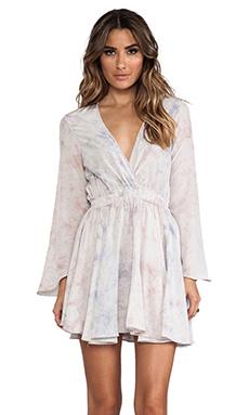 LoveShackFancy Long Sleeve Mini Dress in Ocean Dawn