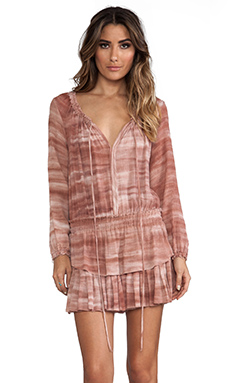 LoveShackFancy Popover Ruffle Mini Dress in Sunbaked Clay