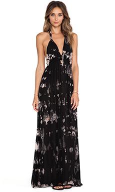LoveShackFancy Midnight Floral Batik Love Dress in Black & Blush