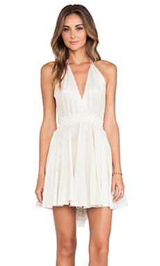 LoveShackFancy Halter Mini Dress in Taupe
