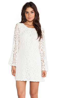LoveShackFancy Baroque Lace Bell Sleeve Mini Dress in Cream
