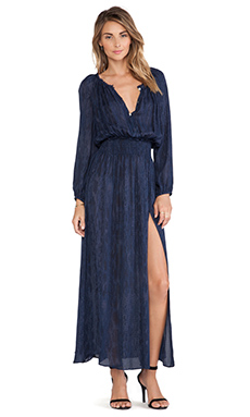 LoveShackFancy Watersnake Smocked Maxi Dress in Navy