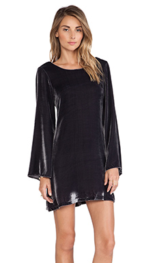 LoveShackFancy Plush Velvet Bell Sleeve Mini Dress in Dark Sky