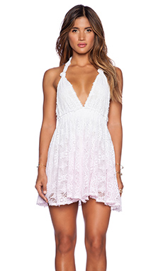 LoveShackFancy Beach Halter Dress in White & Pink