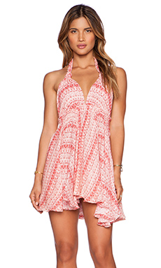 LoveShackFancy Halter Mini Dress in Sunset Multi