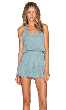 LoveShackFancy Ruffle Racer Mini Dress in Stormy Seas