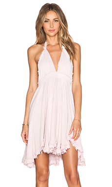 LoveShackFancy Halter Mini Dress in Shell