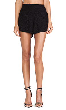 LoveShackFancy Baroque Lace Shorts in Black