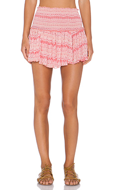 LoveShackFancy Beach Mini Skirt in Sunset Multi