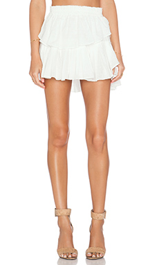 LoveShackFancy Ruffle Mini Skirt in Ivory