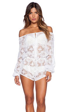 LoveShackFancy Playsuit in White
