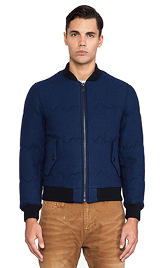 LEVI'S: Made & Crafted Quilted Bomber Jacket in Indigo Mountains