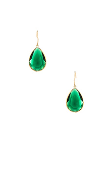 Lisa Freede Tear Drop Emerald Earrings in Emerald Green