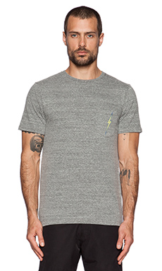 Lightning Bolt OG Triblend Pocket Tee in Heather Grey