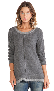 Linear B. Nova Boxy Sweater with Contrast Neck & Hem