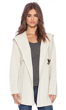 Linear B. Equus Hooded Cardigan in Ivory