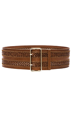 Linea Pelle Wide Double Braided Belt in Cognac