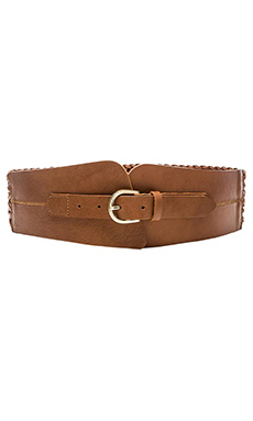 Linea Pelle Wide Braided Belt in Cognac