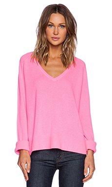 Line Chase V Neck Sweater in Pink Panther