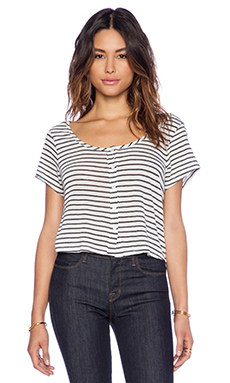 Lisa Kai Crop Button Tee in Stripe