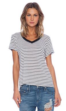 Lisa Kai Crew Tee in Grey & White Stripe