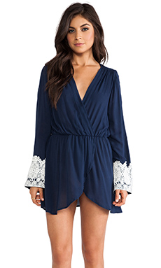 LIV Bell Sleeve Tunic Dress in Navy