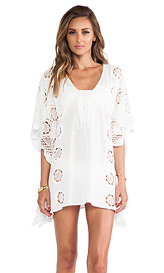 LIV Lace-Up Caftan in White