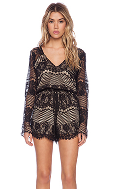 LIV Sandra Lace Romper in Black